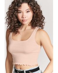 Forever 21 - Ribbed Lettuce-edge Crop Top - Lyst