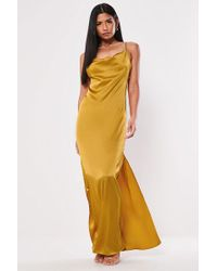 Missguided - Satin Cowl Neck Gown At - Lyst