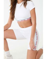 Forever 21 Coca-cola Ribbed Biker Shorts , White/red