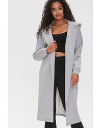 Forever 21 Hooded Heathered Duster Jacket - Gray