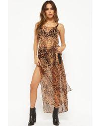 Forever 21 - Sheer Leopard Print Cami Dress - Lyst