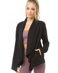 Forever 21 Women's Active Open-front Cardigan Sweater - Black