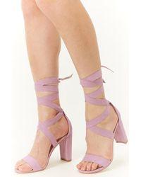 4147a3ba6f9 Forever 21 - Women s Faux Suede Block Heel Sandal - Lyst
