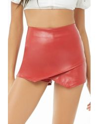 Forever 21 Faux Leather Skort , Red