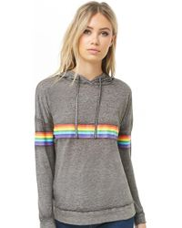 Forever 21 - Rainbow-striped Hooded Top - Lyst