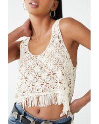 bec21fe3e72 Forever 21 - Crochet Fringe Crop Top - Lyst