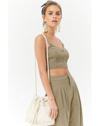Forever 21 - Linen-blend Button-front Cropped Cami - Lyst