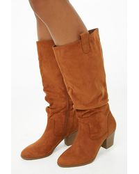 Forever 21 Slouchy Faux Suede Tall Boots - Brown