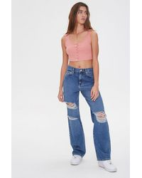 Forever 21 Distressed Straight-leg Jeans - Blue