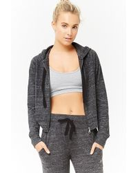 Forever 21 Women's Active Hooded Heathered Jacket - Gray