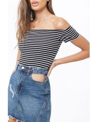 0ae8605adb6606 Forever 21 - Women s Striped Off-the-shoulder Top - Lyst