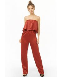 Forever 21 Flounce Satin Jumpsuit - Red