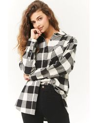 Forever 21 Buffalo Plaid Longline Flannel Shirt , White/black