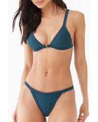 Forever 21 Elasticized Bikini Bottoms , Hunter Green - Blue