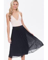 Forever 21 Knee-length Pleated Skirt - Black