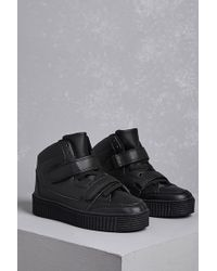Forever 21 - Faux Leather Flatform Sneakers - Lyst