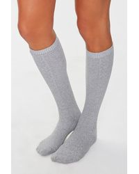 Forever 21 Cable Knit Knee-high Socks - Gray
