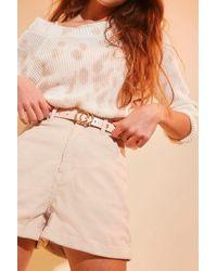 Forever 21 Faux Croc Leather Grommet Belt - Multicolor