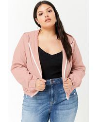 842e7aed6 Women's Plus Size Hooded Zip-front Jacket - Pink