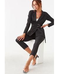 Forever 21 Striped Blazer & Pant Set , Black/white