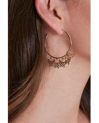 Forever 21 Butterfly Charm Hoop Earrings - Metallic