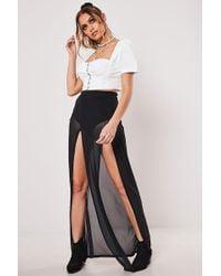 Missguided Mesh M-slit Maxi Skirt At , Black