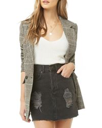 Forever 21 - Distressed Denim Mini Skirt - Lyst