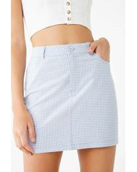 Forever 21 - Gingham Mini Skirt , Light Blue/cream - Lyst