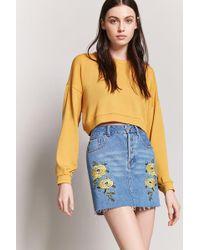 Forever 21 - Embroidered Denim Mini Skirt - Lyst