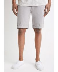 Forever 21 - Clean Wash Cuffed Denim Shorts - Lyst