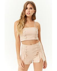 Forever 21 - Lace-up Cropped Cami & Shorts Set - Lyst