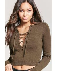 Forever 21 - Lace-up Sweater-knit Top - Lyst