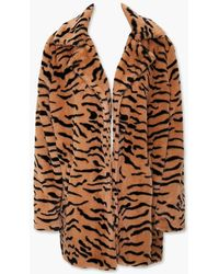 Forever 21 Tiger Print Faux Fur Co - Brown