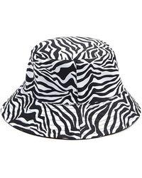 Forever 21 Tiger Striped Trim Bucket Hat , Black/multi