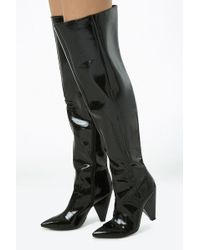 Forever 21 Faux Patent Leather Thigh-high Boots , Black