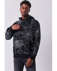 Forever 21 Spiderweb Print Fleece Hoodie - Black