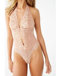 Forever 21 Lace-up Halter Teddy - Natural