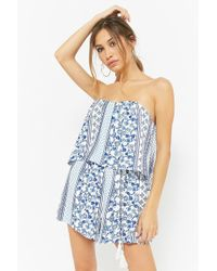 bc66a5f0f73 Lyst - Forever 21 Lush Embroidered Romper in White