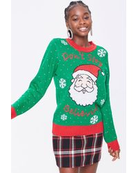 Forever 21 Santa Graphic Sweater - Green
