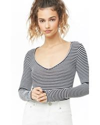 Forever 21 - Women's Ribbed Striped V-neck Top - Lyst
