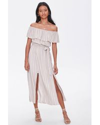 Forever 21 Striped M-slit Maxi Dress - Blue