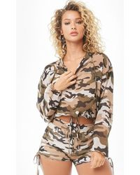 Forever 21 Sheer Camo Top & Shorts Set , Olive/green