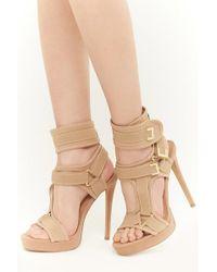 e5bedf82e8404 Forever 21 Shoe Republic Strappy Stiletto Heels , Taupe