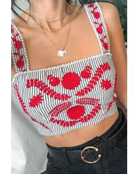 8dfe479b896bd0 Forever 21 - Women s Striped Embroidered Crop Top - Lyst