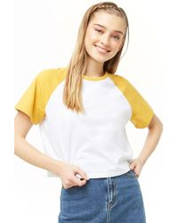 Forever 21 Women's Raglan Cropped Tee Shirt - White