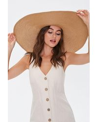 Forever 21 Oversized Floppy Straw Hat - Natural