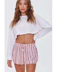 Forever 21 Striped Print Pyjama Shorts - Pink