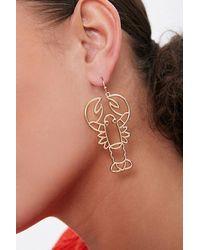 Forever 21 Lobster Cutout Drop Earrings - Metallic