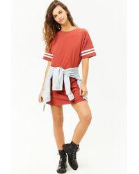 72851ac0cb7 Forever 21 - Women s Varsity-striped T-shirt Dress - Lyst