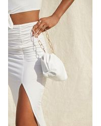 Forever 21 Faux Leather Chain Strap Clutch In White